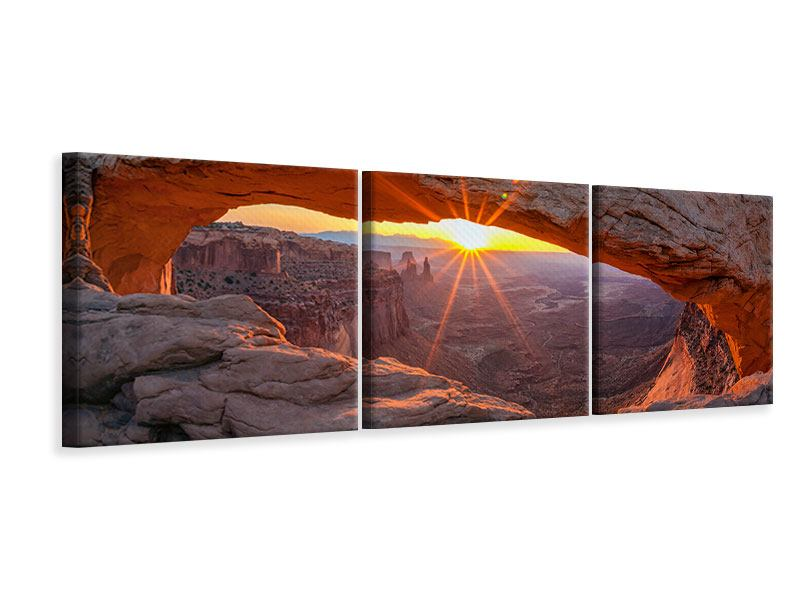 Panorama Leinwandbild 3-teilig Sonnenuntergang am Mesa Arch