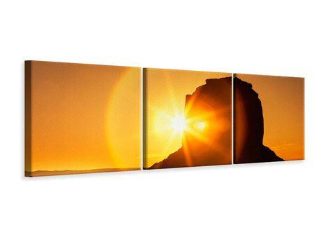 Panorama Leinwandbild 3-teilig Sonnenuntergang Monument Valley
