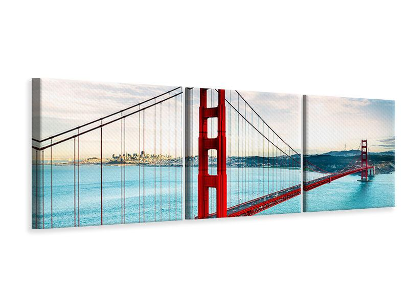 Panorama Leinwandbild 3-teilig Golden Gate Bridge