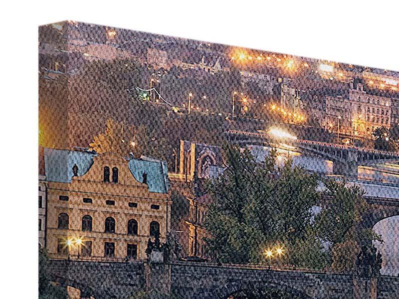 Panorama Leinwandbild 3-teilig Brücken in Prag