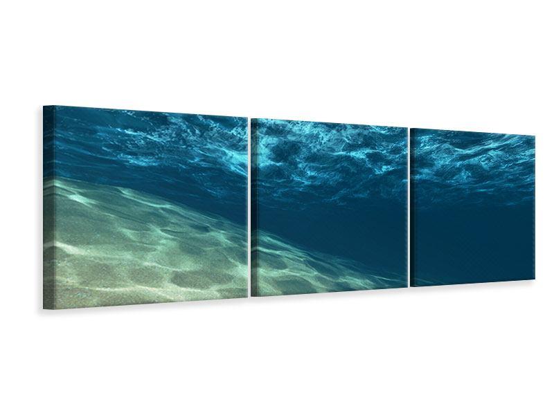 Panorama Leinwandbild 3-teilig Unter dem Wasser