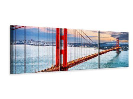 Panorama Leinwandbild 3-teilig Der Golden Gate Bridge bei Sonnenuntergang