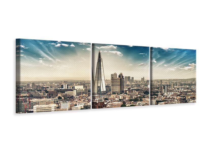Panorama Leinwandbild 3-teilig Skyline Über den Dächern von London