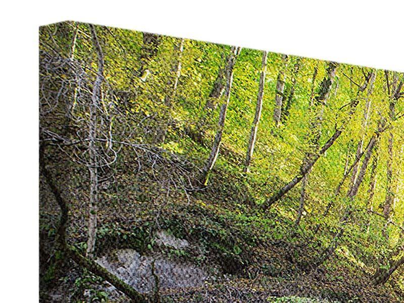 Panorama Leinwandbild 3-teilig Fliessender Wasserfall