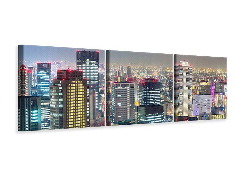 Panorama Leinwandbild 3-teilig Skyline Osaka im Lichtermeer