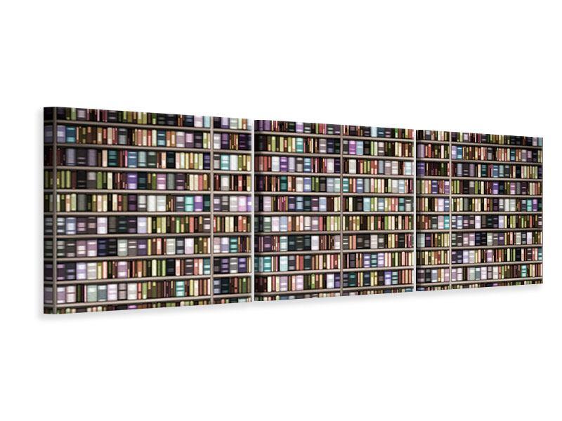 Panorama Leinwandbild 3-teilig Bücherregal