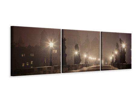 Panorama Leinwandbild 3-teilig Die Karlsbrücke bei Nacht