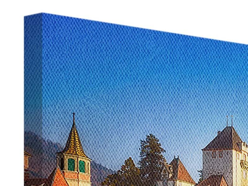 Panorama Leinwandbild 3-teilig Schloss Oberhofen am Thunersee