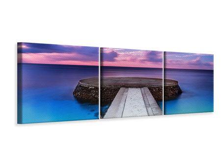 Panorama Leinwandbild 3-teilig Meditation am Meer