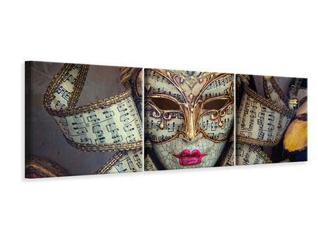 Panorama Leinwandbild 3-teilig Venezianische Maske