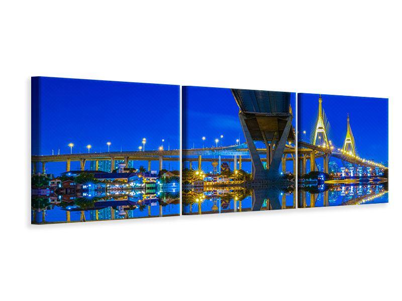 Panorama Leinwandbild 3-teilig Bhumiboll-Brücke