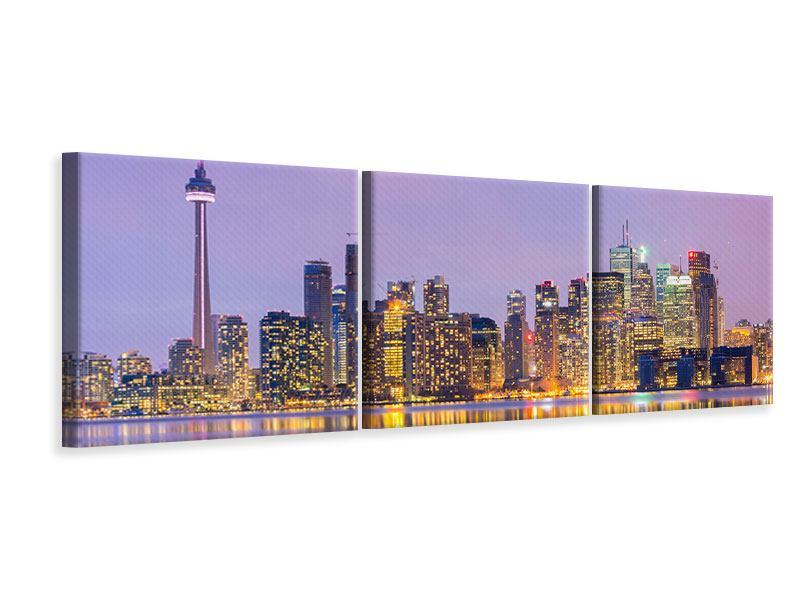 Panorama Leinwandbild 3-teilig Skyline Toronto bei Nacht