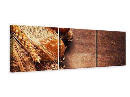 Panorama Leinwandbild 3-teilig Frische Brote