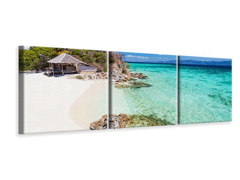 Panorama Leinwandbild 3-teilig Das Haus am Strand