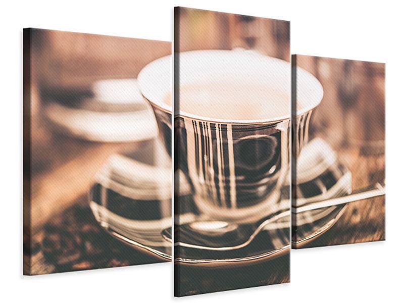 Leinwandbild 3-teilig modern Der Kaffee ist fertig