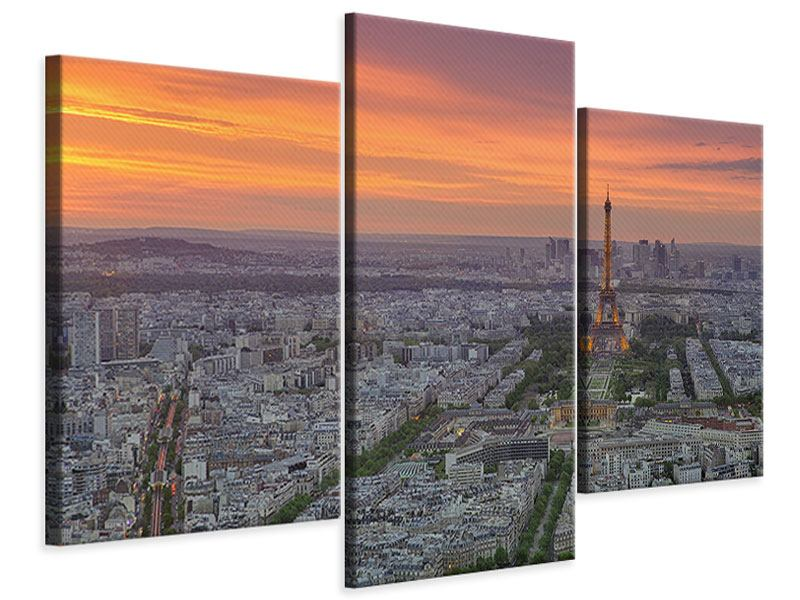 Leinwandbild 3-teilig modern Skyline Paris bei Sonnenuntergang