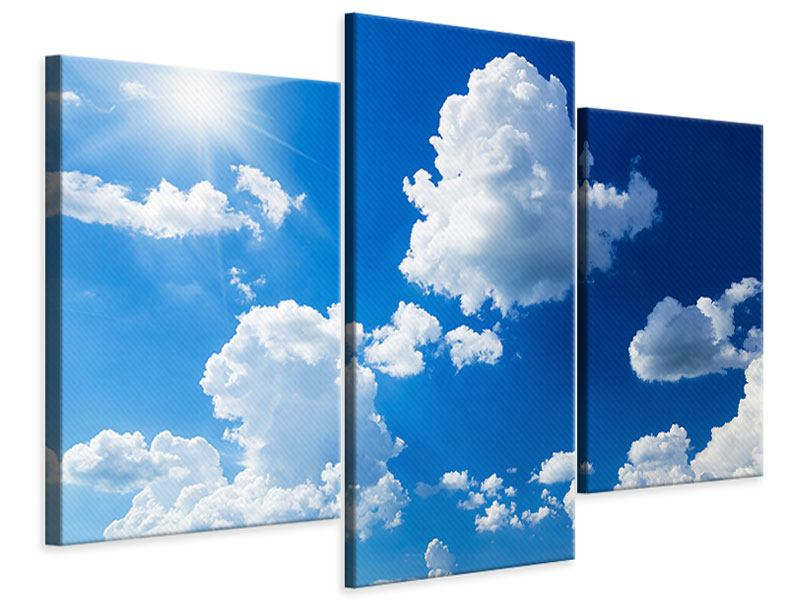 Leinwandbild 3-teilig modern Himmelblau