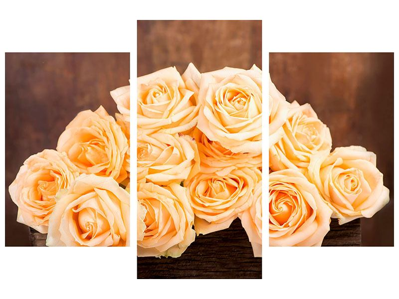 Leinwandbild 3-teilig modern Die Rosenzeit