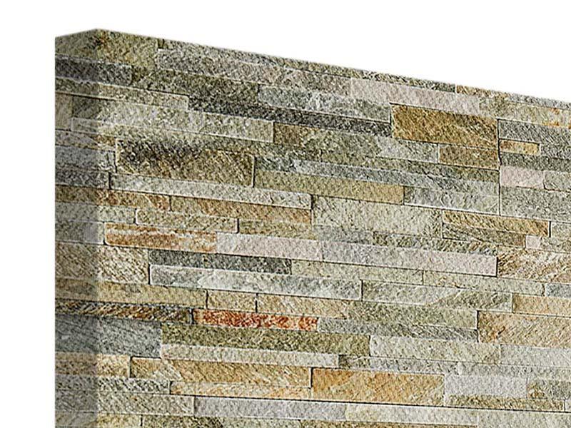 Leinwandbild 3-teilig modern Edle Steinmauer