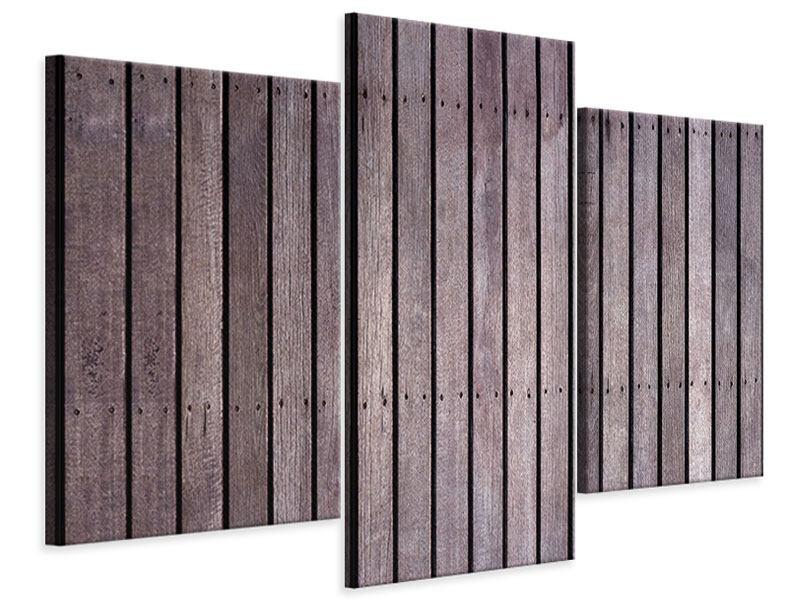 Leinwandbild 3-teilig modern Holzwand