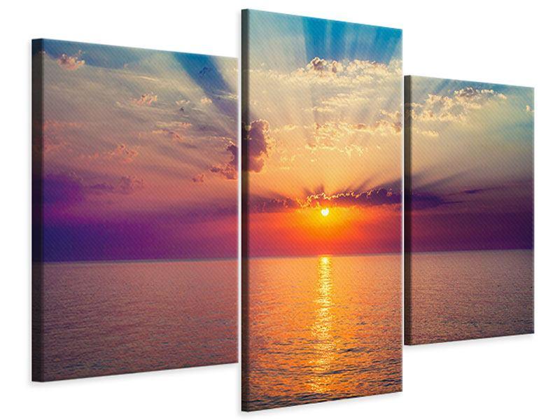 Leinwandbild 3-teilig modern Mystischer Sonnenaufgang