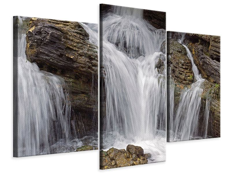 Leinwandbild 3-teilig modern Wasserfall XXL
