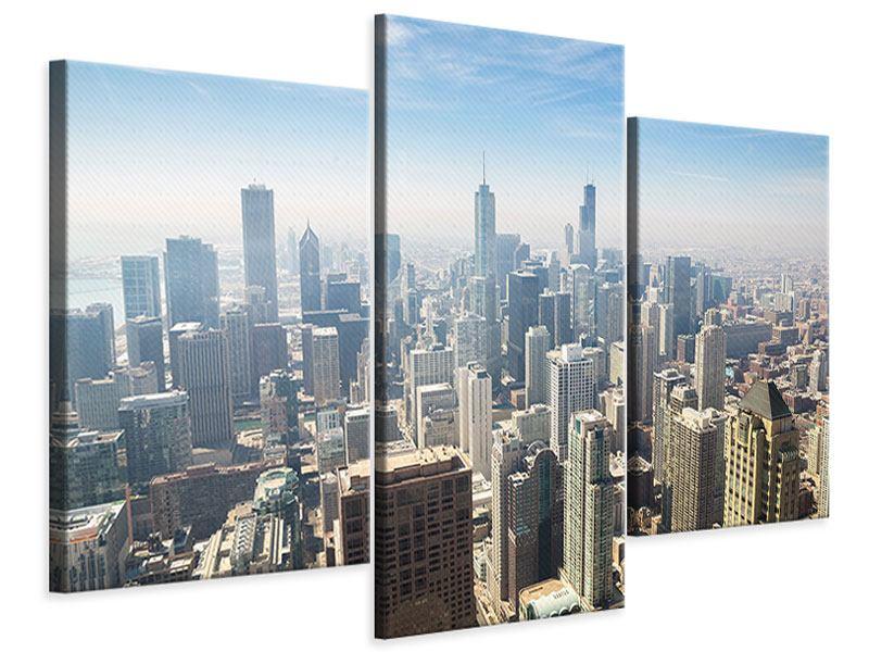 Leinwandbild 3-teilig modern Wolkenkratzer Chicago