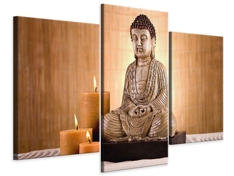 Leinwandbild 3-teilig modern Buddha in der Meditation