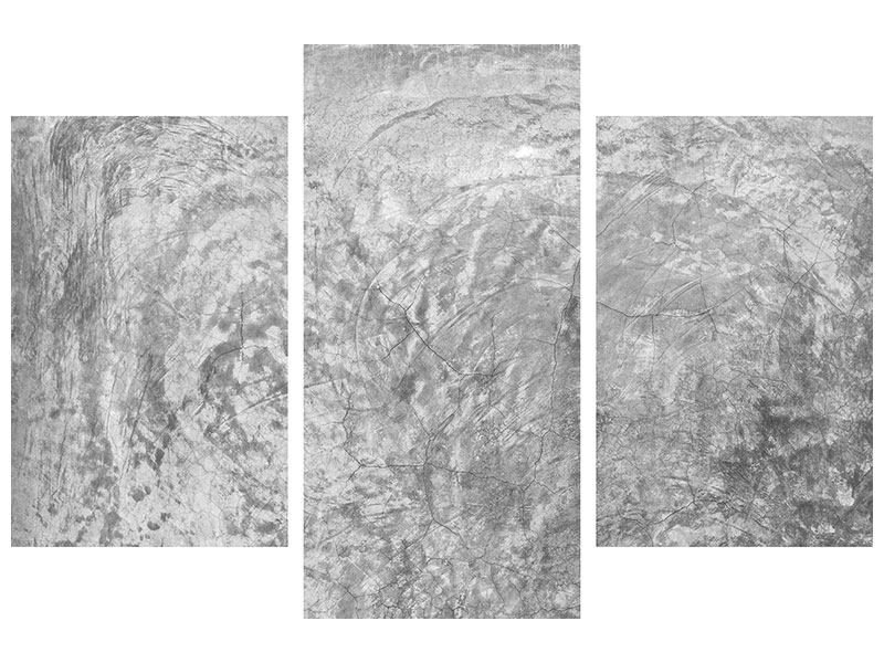 Leinwandbild 3-teilig modern Wischtechnik in Grau