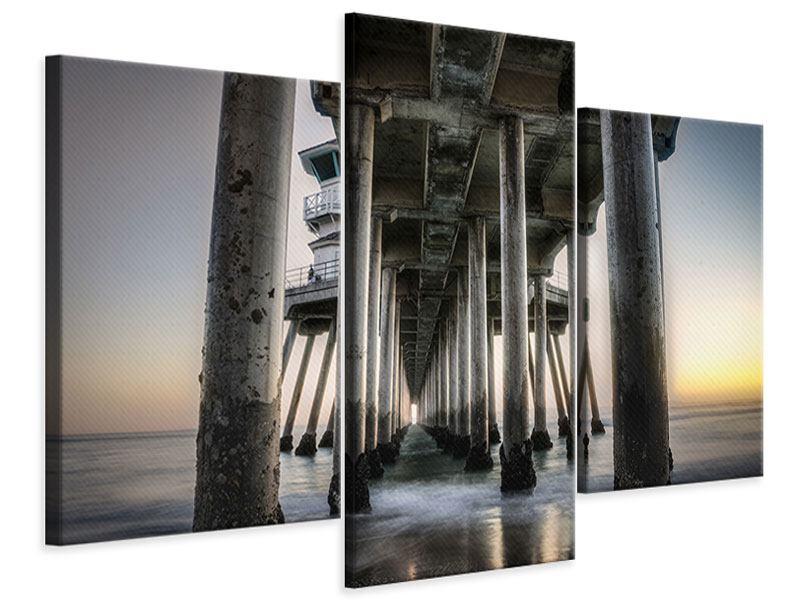 Leinwandbild 3-teilig modern Brückenpfeiler