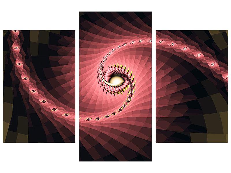 Leinwandbild 3-teilig modern Abstrakte Windungen