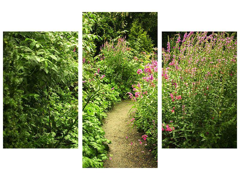 Leinwandbild 3-teilig modern Gartenweg