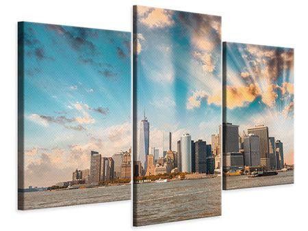 Leinwandbild 3-teilig modern Skyline New York from the other Side