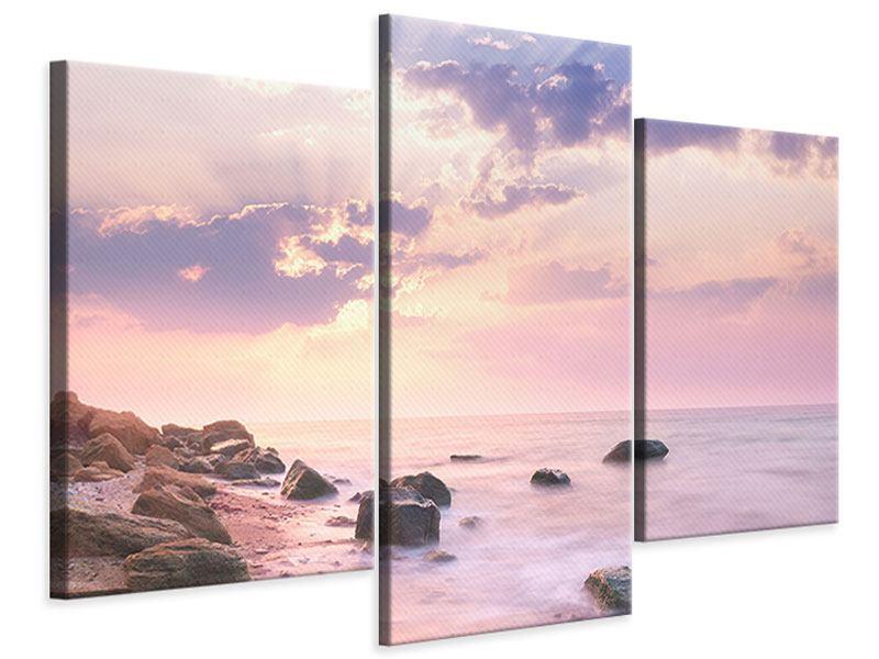 Leinwandbild 3-teilig modern Sonnenaufgang am Meer
