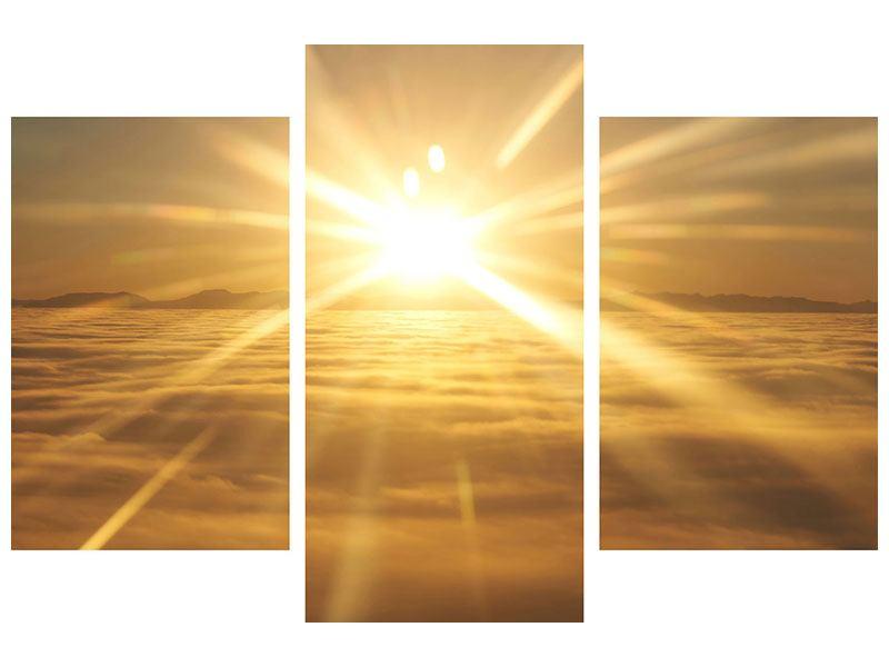 Leinwandbild 3-teilig modern Über dem Wolkenmeer