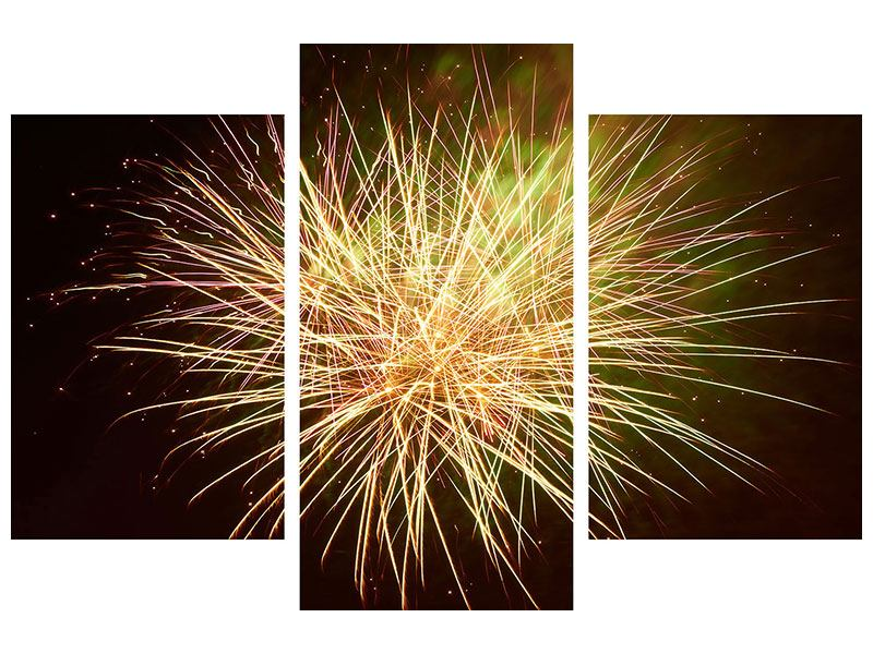 Leinwandbild 3-teilig modern Feuerwerk XXL
