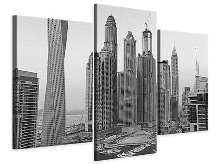 Leinwandbild 3-teilig modern Majestätische Wolkenkratzer in Dubai
