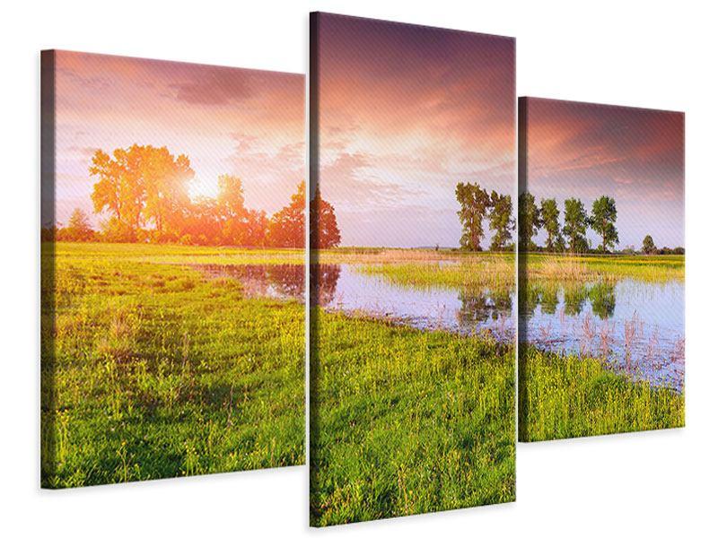 Leinwandbild 3-teilig modern Sonnenuntergang am See