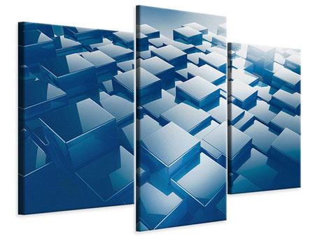Leinwandbild 3-teilig modern 3D-Cubes