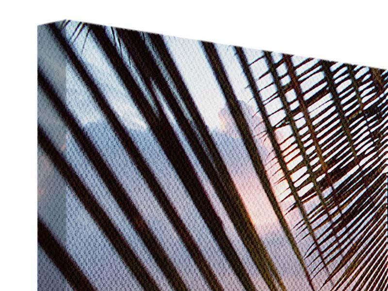 Leinwandbild 3-teilig modern Unter Palmenblätter
