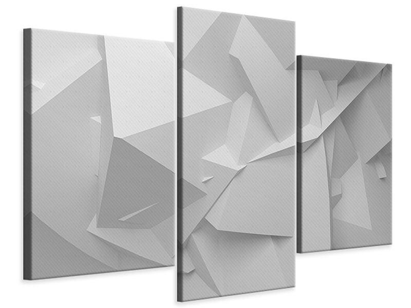 Leinwandbild 3-teilig modern 3D-Raster