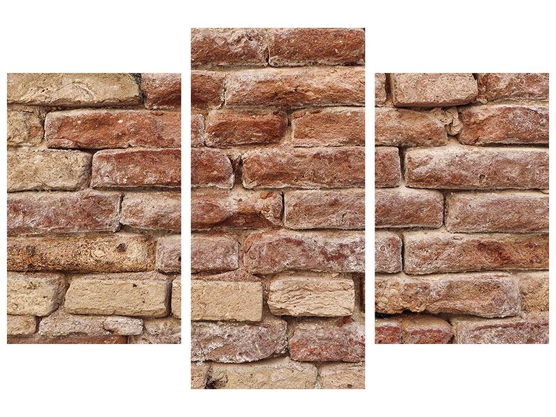 Leinwandbild 3-teilig modern Loft-Mauer