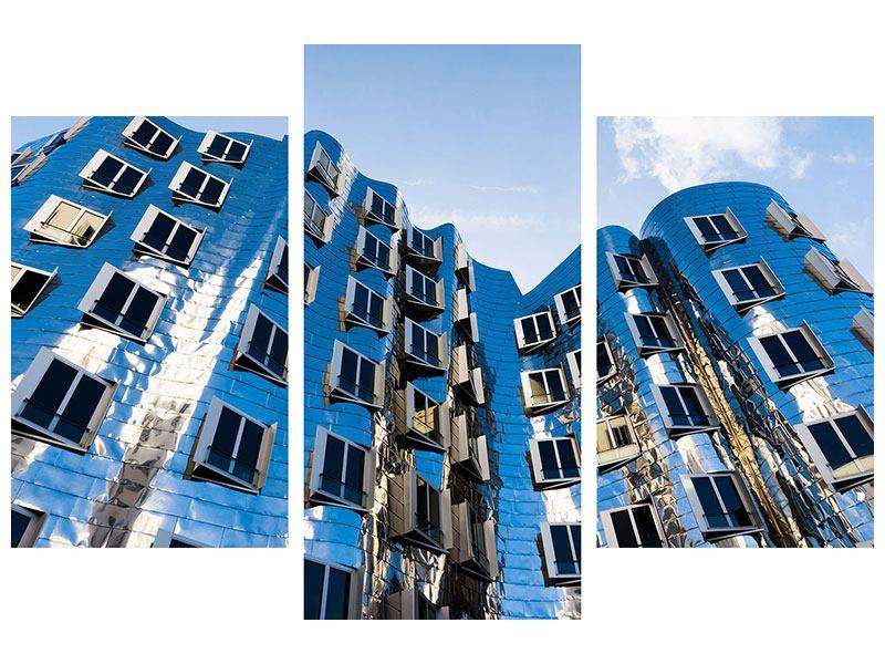 Leinwandbild 3-teilig modern Neuer Zollhof