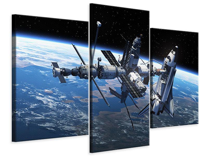 Leinwandbild 3-teilig modern Satellit