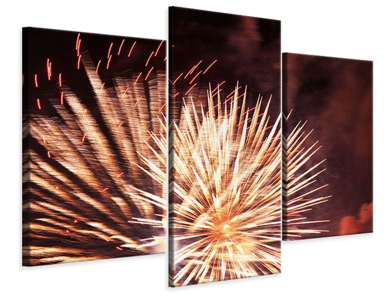 Leinwandbild 3-teilig modern Close Up Feuerwerk
