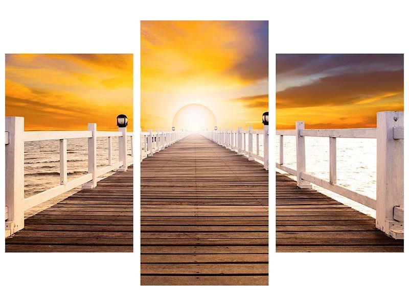 Leinwandbild 3-teilig modern Die Brücke Ins Glück