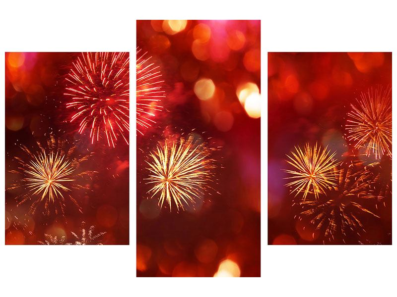 Leinwandbild 3-teilig modern Buntes Feuerwerk
