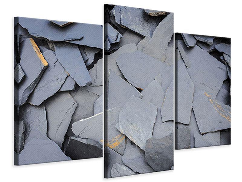 Leinwandbild 3-teilig modern Schieferplatten