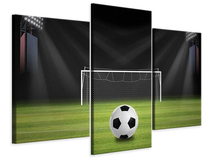 Leinwandbild 3-teilig modern Fussball-Tor