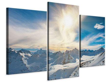 Leinwandbild 3-teilig modern Über den verschneiten Gipfeln
